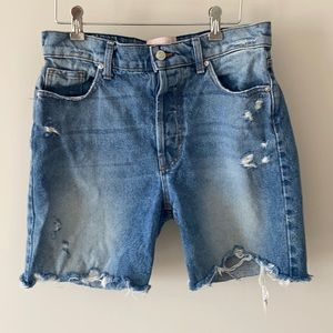 Revice Button Fly Distressed Jean Shorts Size 30